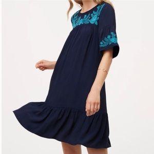 NWT Loft Embroidered Navy Blue Flounce Dress ST